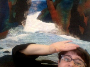 Here I am getting swept away by the beauty of my mom's quilt.